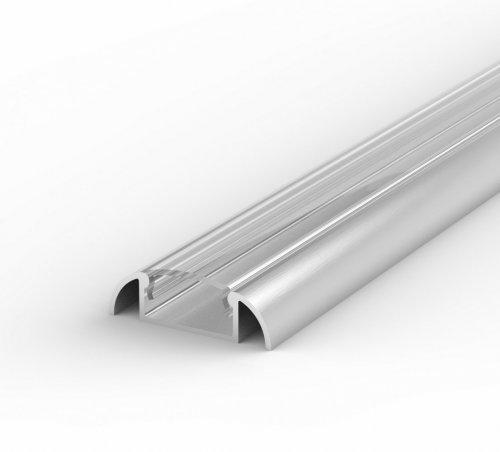 Profil LED Nawierzchniowy P2-1 anodowany z kloszem transparentnym 1m