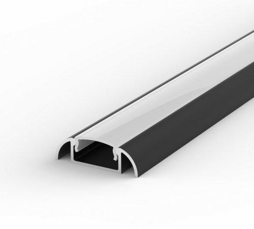 Profil LED Nawierzchniowy P2-1 czarny lakierowany z kloszem mlecznym 2m