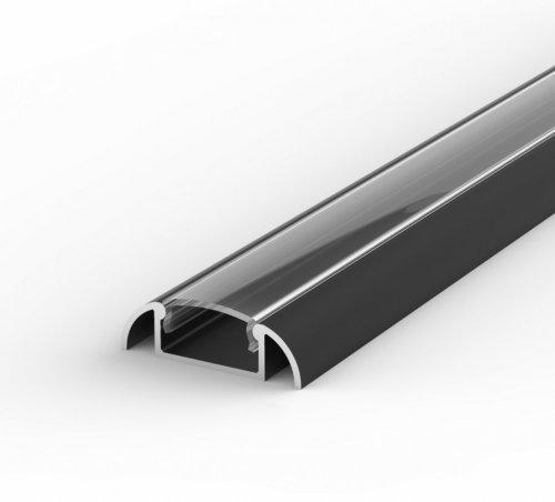 Profil LED Nawierzchniowy P2-1 czarny lakierowany z kloszem transparentnym 2m