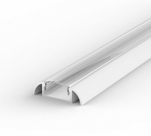 Profil LED Nawierzchniowy P2-1 biały lakierowany z kloszem transparentnym 1m