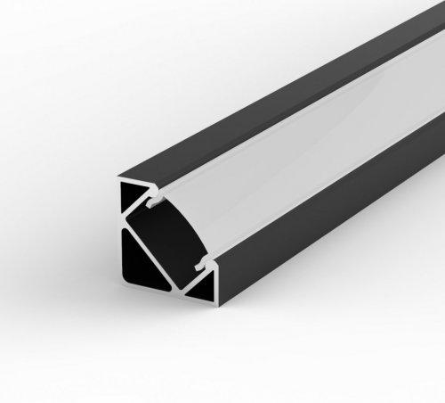 Profil LED Kątowy P3-1 czarny lakierowany z kloszem mlecznym 1m