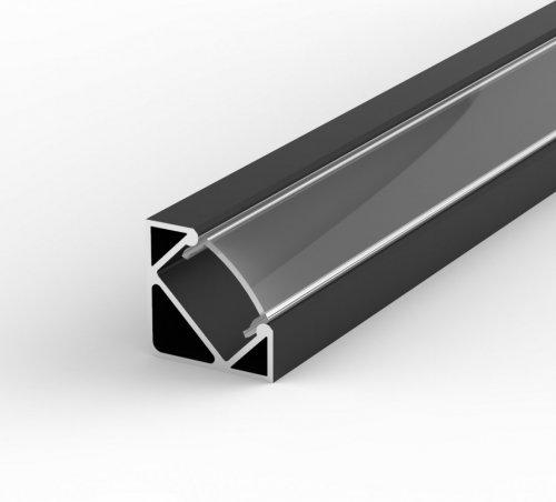 Profil LED Kątowy P3-1 czarny lakierowany z kloszem transparentnym 1m