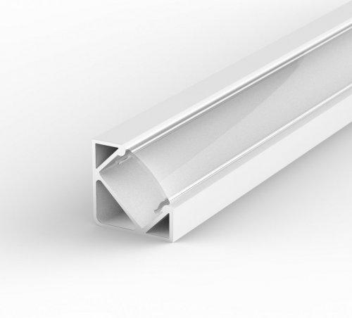 Profil LED Kątowy P3-1 biały lakierowany z kloszem transparentnym 2m