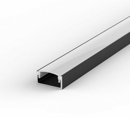 Profil LED Nawierzchniowy TLD4-1 czarny lakierowany z kloszem mlecznym 2m