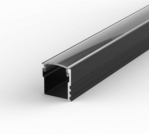 Profil LED Nawierzchniowy P5-1 czarny lakierowany z kloszem transparentnym 2m
