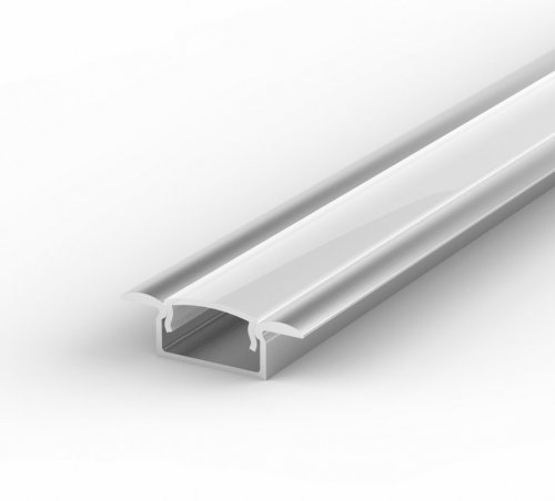 Profil LED Wpuszczany P6-1 anodowany z kloszem mlecznym 1m