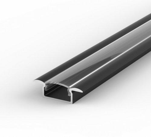 Profil LED Wpuszczany TLD6-1 czarny lakierowany z kloszem transparentnym 1m