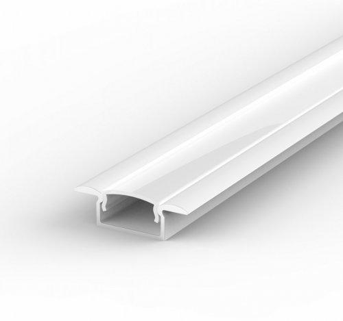 Profil LED Wpuszczany P6-1 biały lakierowany z kloszem mlecznym 2m