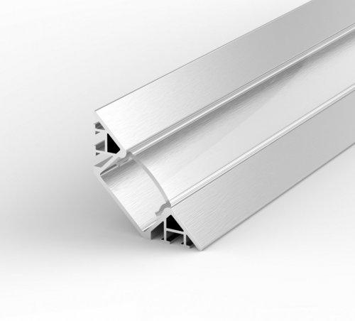 Profil LED Wpuszczany, Kątowy P7-1 anodowany z kloszem transparentnym 1m