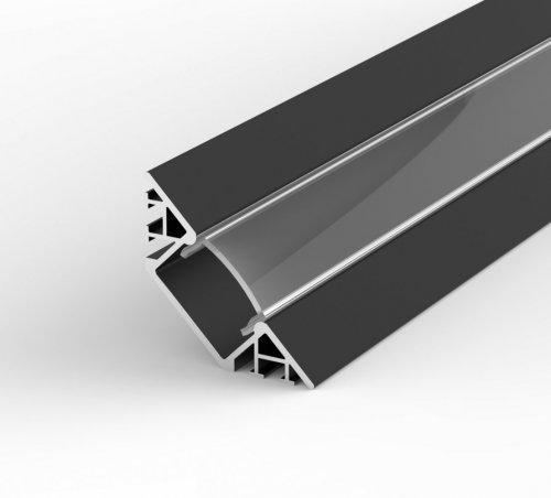 Profil LED Wpuszczany, Kątowy P7-1 czarny lakierowany z kloszem transparentnym 1m