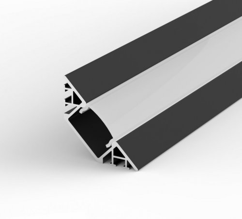 Profil LED Wpuszczany, Kątowy P7-1 czarny lakierowany z kloszem mlecznym 1m