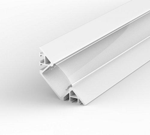 Profil LED Wpuszczany, Kątowy P7-1 biały lakierowany z kloszem transparentnym 1m