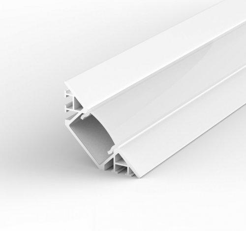 Profil LED Wpuszczany, Kątowy TLD7-1 biały lakierowany z kloszem mlecznym 2m