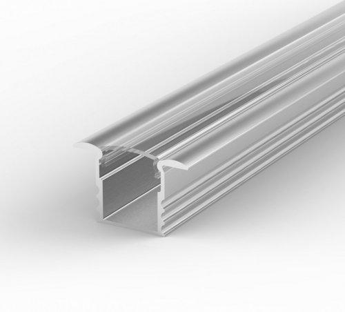 Profil LED Wpuszczany P18-1 anodowany z kloszem transparentnym 2m