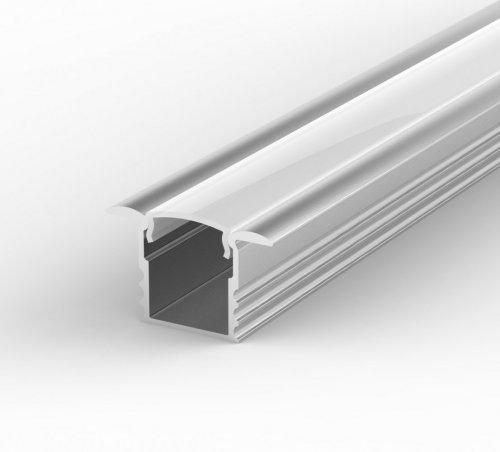 Profil LED Wpuszczany P18-1 anodowany z kloszem mlecznym 2m