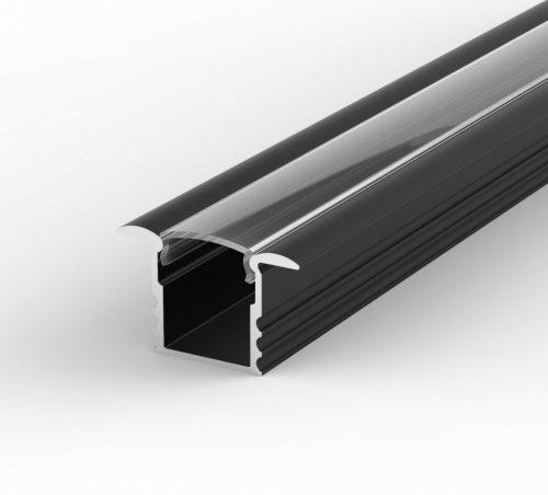 Profil LED Wpuszczany TLD18-1 czarny lakierowany z kloszem transparentnym 2m