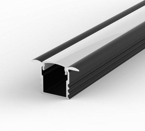 Profil LED Wpuszczany P18-1 czarny lakierowany z kloszem mlecznym 1m