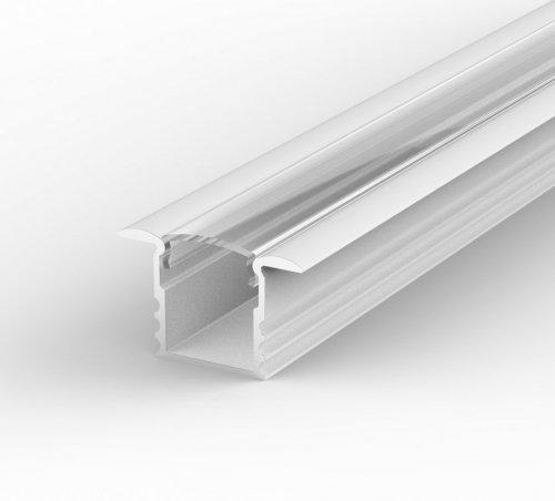 Profil LED Wpuszczany P18-1 biały lakierowany z kloszem transparentnym 2m