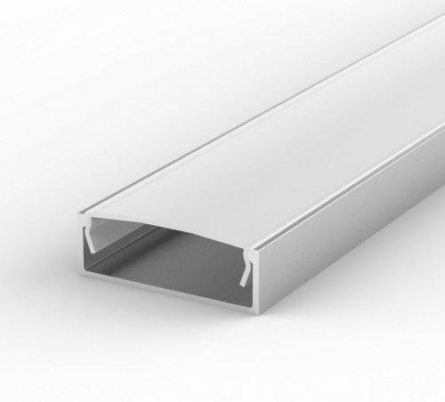 Profil LED Nawierzchniowy P13-1 anodowany z kloszem mlecznym 1m