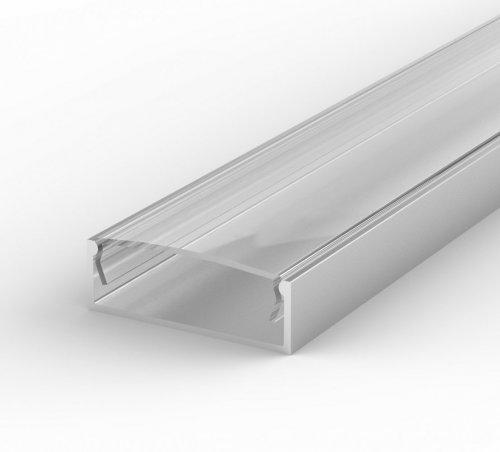 Profil LED Nawierzchniowy P13-1 anodowany lakierowany z kloszem transparentnym 2m
