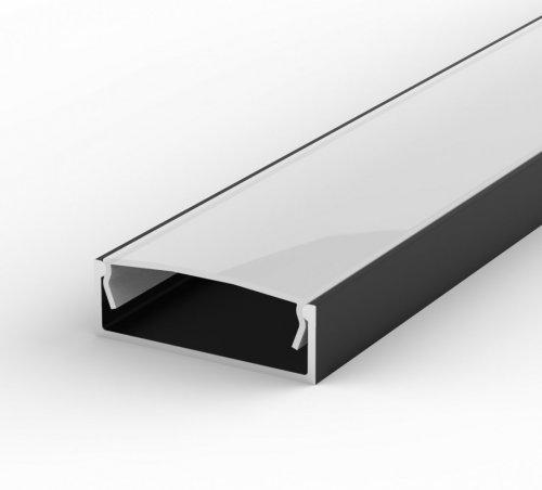 Profil LED Nawierzchniowy P13-1 czarny lakierowany z kloszem mlecznym 1m