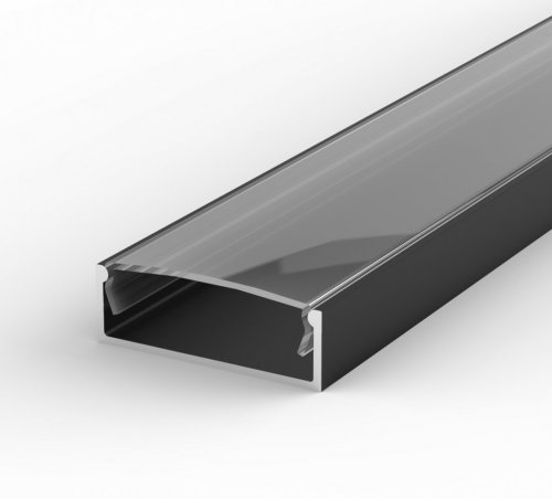 Profil LED Nawierzchniowy TLD13-1 czarny lakierowany z kloszem transparentnym 1m