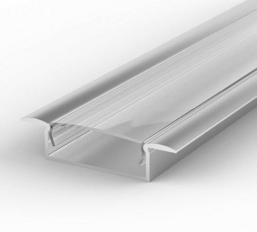 Profil LED Wpuszczany P14-1 anodowany z kloszem transparentnym 1m