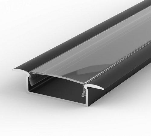 Profil LED Wpuszczany P14-1 czarny lakierowany z kloszem transparentnym 1m
