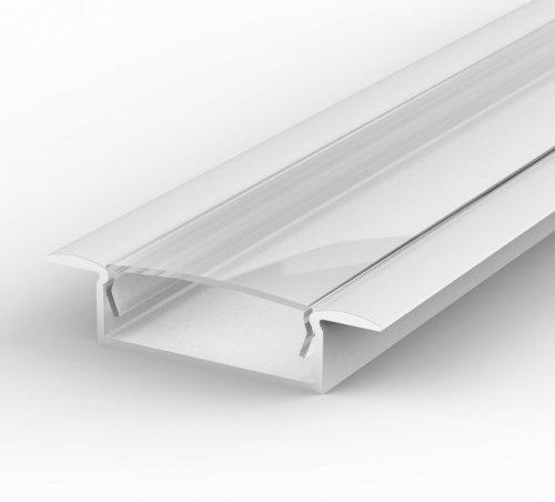 Profil LED Wpuszczany P14-1 biały lakierowany z kloszem transparentnym 1m