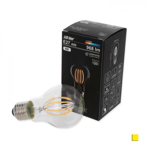 Żarówka LED LEDLINE E27 duży gwint A60 8W biała ciepła filament