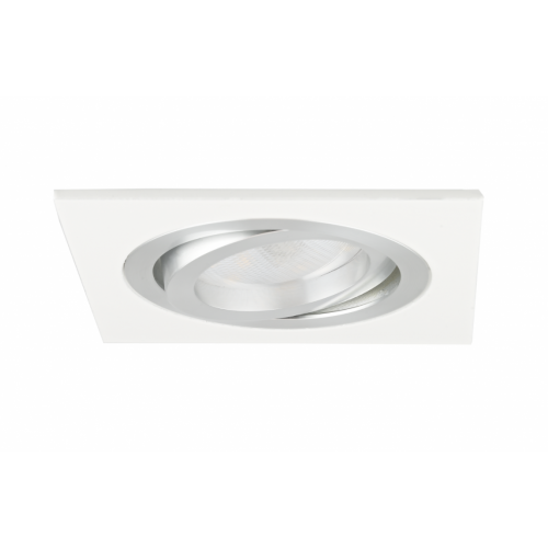 Oprawa sufitowa do wbudowania LED dekoracyjna MR16/GU10 kwadratowa ruchoma aluminiowa biała
