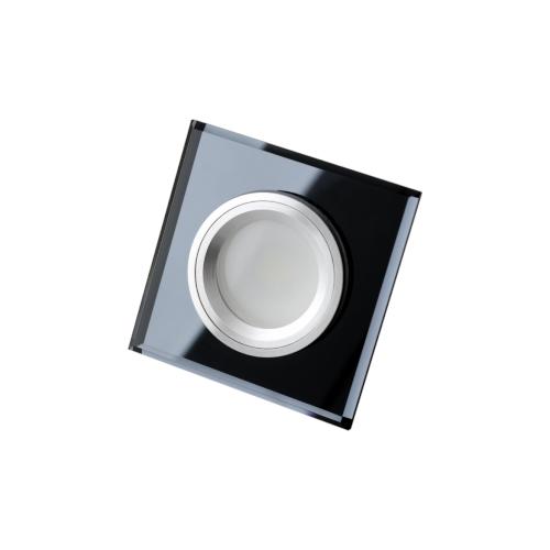 Oprawa sufitowa do wbudowania LED dekoracyjna MR16/GU10 kwadratowa stała szklana czarna