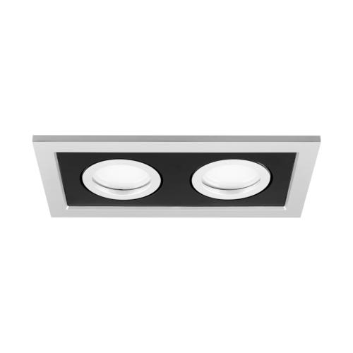 Podwójna oprawa sufitowa do wbudowania dekoracyjna LED 2 x MR16/GU10 prostokątna ruchoma z tworzywa szary czarny