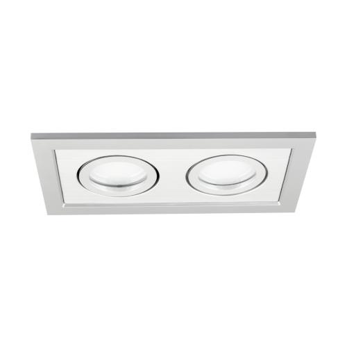 Podwójna oprawa sufitowa do wbudowania dekoracyjna LED 2 x MR16/GU10 prostokątna ruchoma z tworzywa szary aluminum