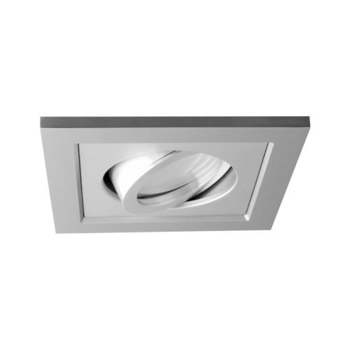 Oprawa sufitowa do wbudowania LED dekoracyjna MR16/GU10 kwadratowa ruchoma z tworzywa szary alu