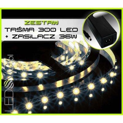 TAŚMA 300 LED WODOODPORNA /5 mb/ BIAŁY ZIMNY +ZASILACZ 36W