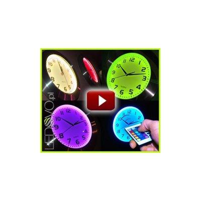 ZEGAR LED RGB Flux - 16 BARW PODŚWIETLENIA + PILOT / 41 cm !