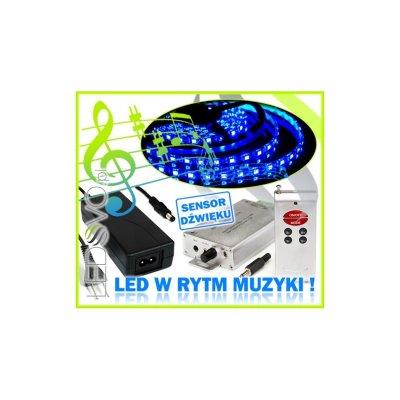 STEROWNIK MUZYCZNY Sound-X +ZASILACZ +TAŚMA LED 5m Niebieska