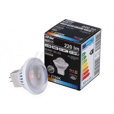 Żarówka LED MR11 SMD 12V DC 3,5W 250lm biała zimna 6000K 60°