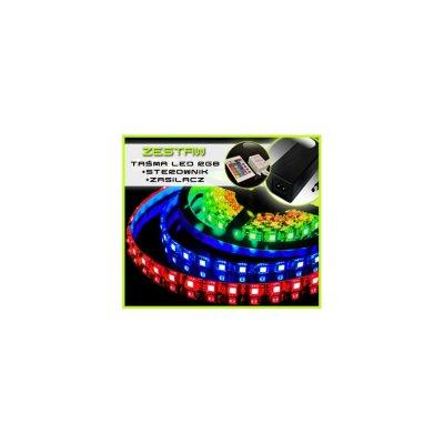 TAŚMA LED RGB 5050 /4mb/ +ZASILACZ +STEROWNIK IR 16 BARW