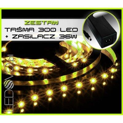 TAŚMA 300 LED WODOODPORNA /5 mb/ BIAŁY CIEPŁY +ZASILACZ 36W
