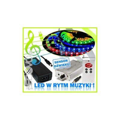 STEROWNIK MUZYCZNY Sound-X +ZASILACZ +TAŚMA LED 5m RGB