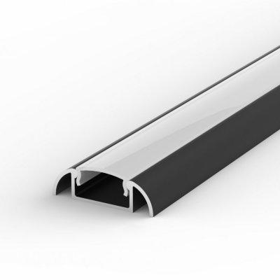 Profil LED Nawierzchniowy P2-1 czarny lakierowany z kloszem mlecznym 1m
