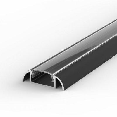 Profil LED Nawierzchniowy P2-1 czarny lakierowany z kloszem transparentnym 1m