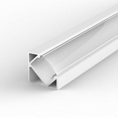 Profil LED Kątowy P3-1 biały lakierowany z kloszem transparentnym 1m
