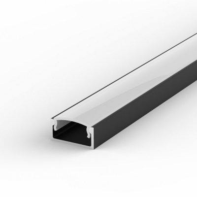 Profil LED Nawierzchniowy P4-1 czarny lakierowany z kloszem mlecznym 2m