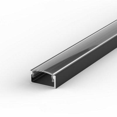 Profil LED Nawierzchniowy P4-1 czarny lakierowany z kloszem transparentnym 1m