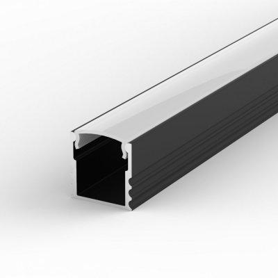 Profil LED Nawierzchniowy P5-1 czarny lakierowany z kloszem mlecznym 1m