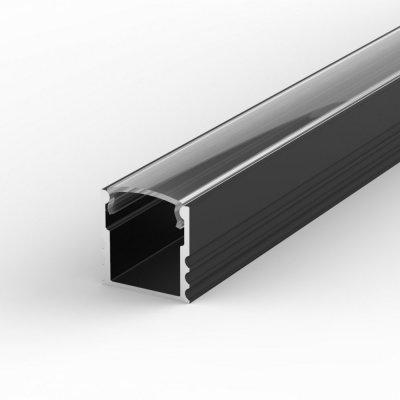 Profil LED Nawierzchniowy P5-1 czarny lakierowany z kloszem transparentnym 1m