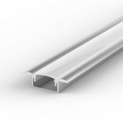 Profil LED Wpuszczany P6-1 anodowany z kloszem mlecznym 2m
